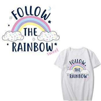 Parches de arco iris de transferencia de hierro para ropa, camiseta DIY, vestidos, apliques de transferencia de calor, pegatinas de vinilo, rayas en la ropa