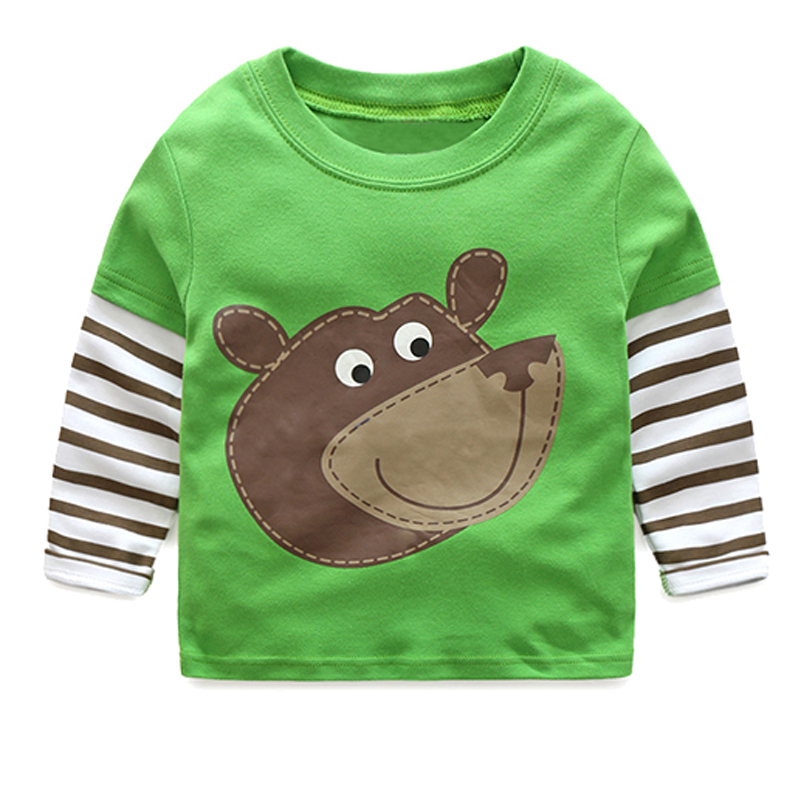 2018 Spring Baby Boy T Shirt Toddler Top Tees Child Clothes Kids Long Sleeve T-Shirts Cotton Cartoon Animal Stripe Boys T Shirts voile panel stripe long sleeve t shirt