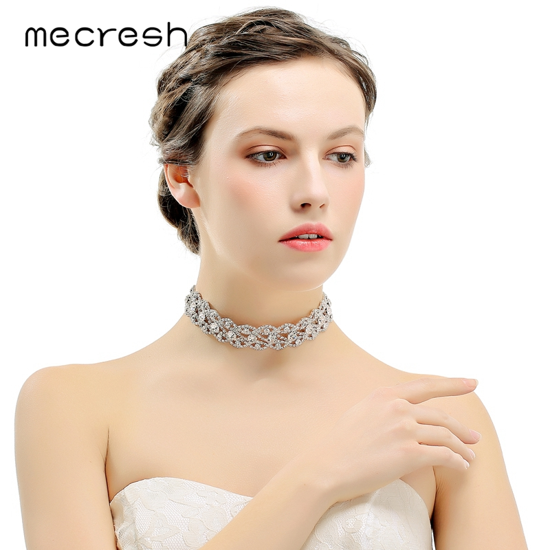 d75176bc6d Mecresh Rhinestone Choker Necklace for Women Elegant Silver Color  Eyes-Shape Chocker Party Wedding Jewelry MXL106