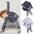 New Girls Clothes Fashion Cute Kids Cartoon Rabbit Print Pocket Dress and Striped Leggings 2pcs Children Set