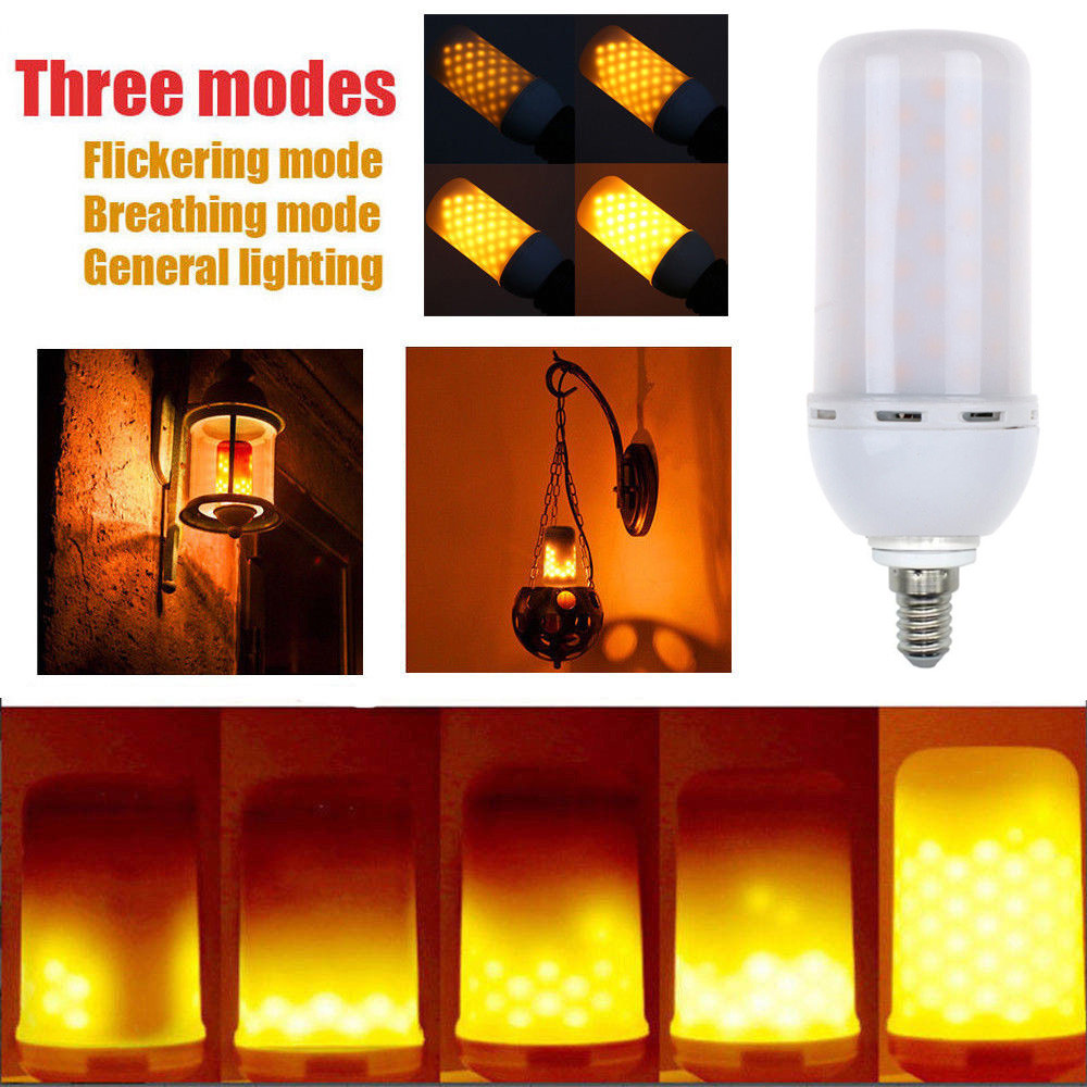 LED E14/B22/E27 5W Flicker Flame Fire Effect Light Bulb Warm White Decor Candle Lamp