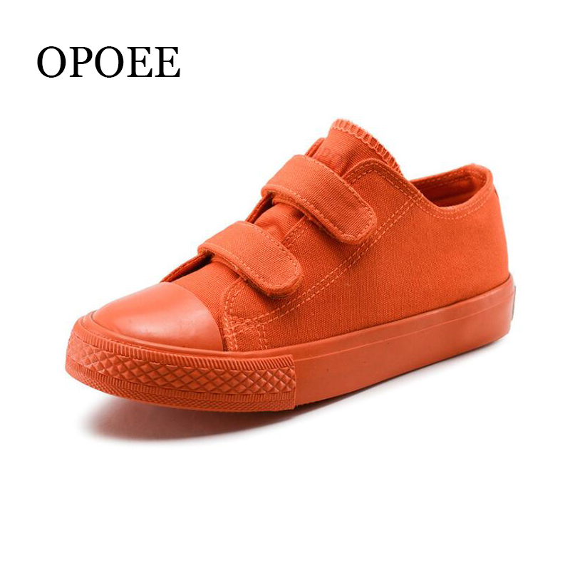 Children's Shoes Boys And Girls Canvas Shoes Spring Autumn Candy Color Breathable Hook & Loop Board Shoes