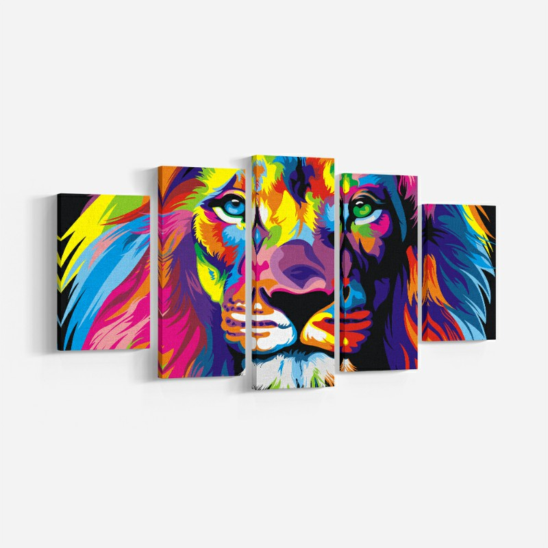 Современные стены Книги по искусству 5 шт. красочные векторные Животные Лев холст стены Книги по искусству изображения животных печати и пл...