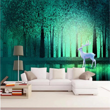 Customized 3d wallpaper Nordic minimalist forest deer hand-painted childrens wall high-grade waterproof material