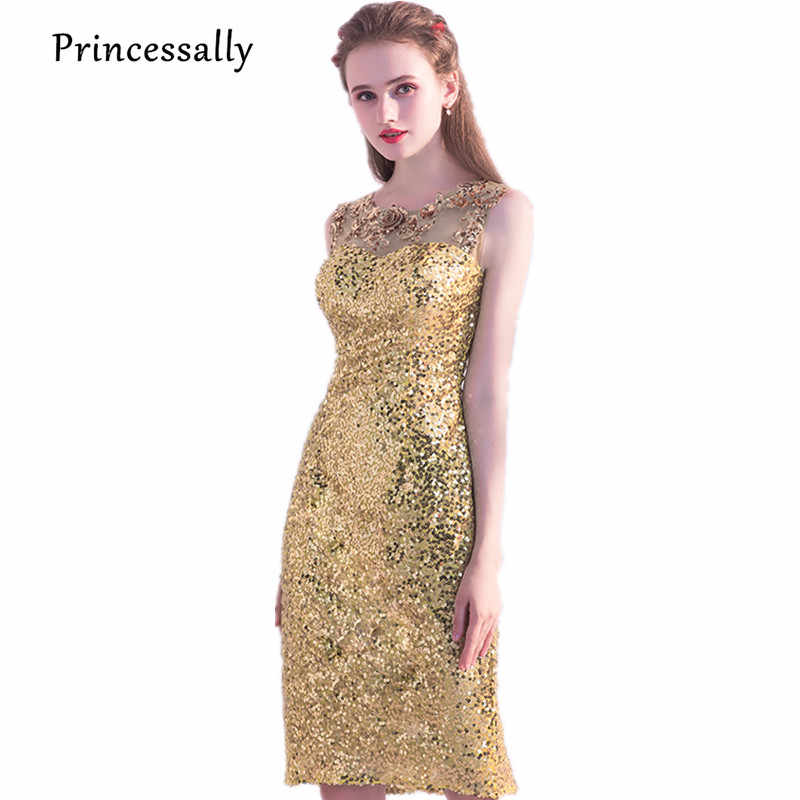 Sequin Cocktail Dress New Gold Sequined Cocktail Dresses Knee Length Straight Embroidery Lace  Flower Beading Elegant Bride Gown Homecoming