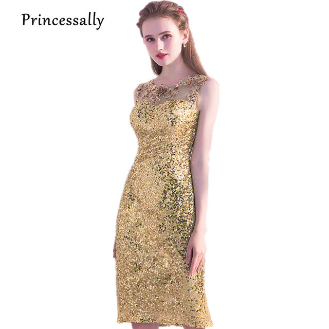 e34b8ff2027ed US $56.3 10% OFF|New Gold Sequined Cocktail Dresses Knee Length Straight  Embroidery Lace Flower Beading Elegant Bride Gown Homecoming Party Gown-in  ...