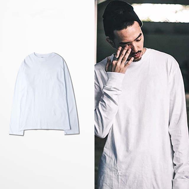 2016 new long sleeve t shirts oversized men tees homme Kanye WEST style clothing t shirt hip hop white streetwear mens t shirts