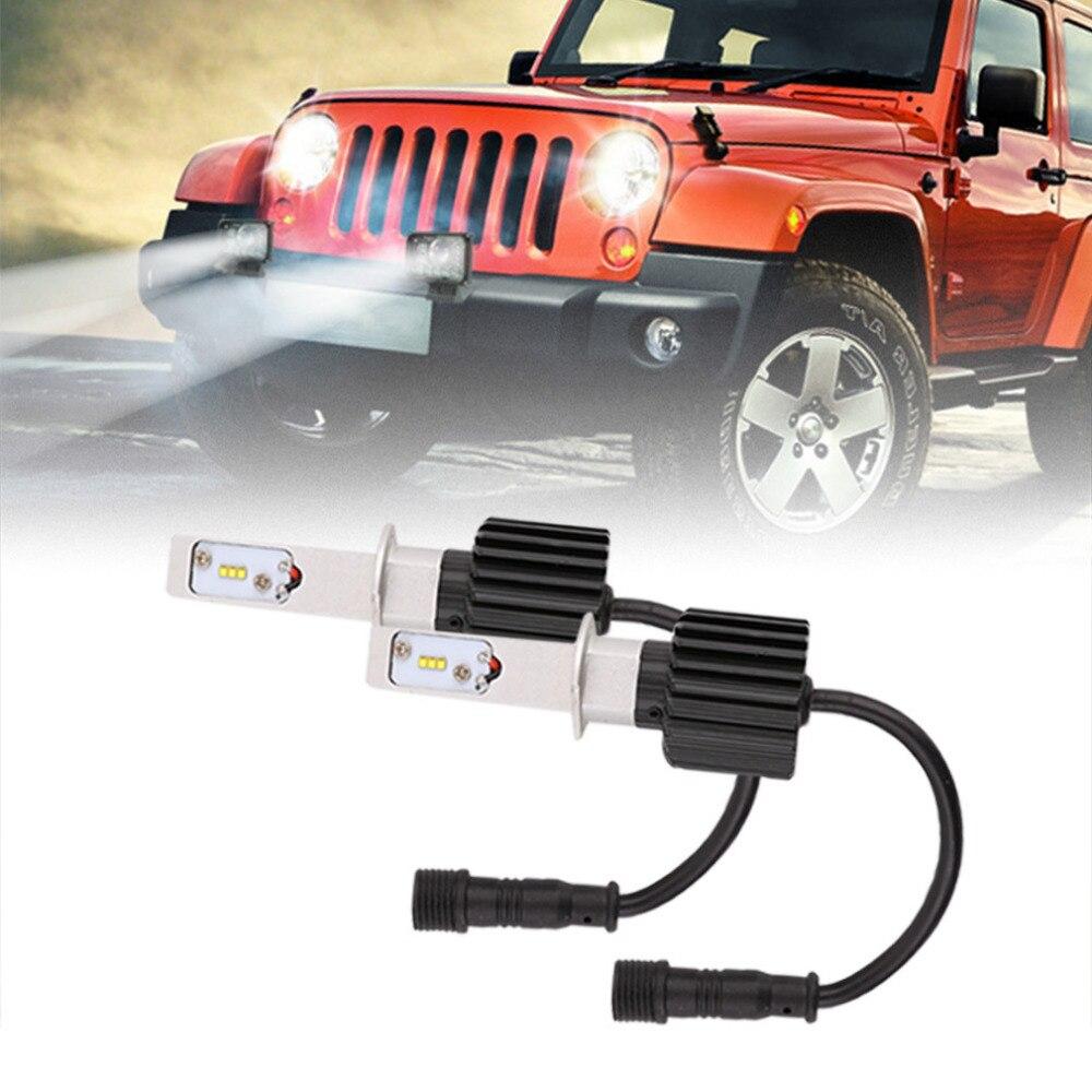 ФОТО 1Pair C8 H1 Car LED Headlamp Bulb Head lights Replace Xenon Headlights 8000lm 9V-36V 80W 6000K White LED Light