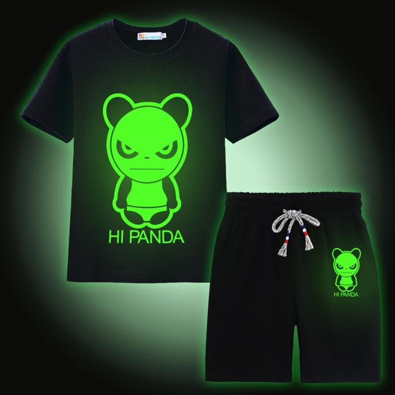 Sun Moon Kids Boys Outfits Cotton Panda Print Short Sleeve T Shirt With Pants Boys Clothes Black Noctilucent Girls Clothes sun moon kids boys t shirt summer