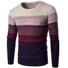 50dfdb171f63 Весна осень мужской свитер полиэстер Полосатый Узор Свободные пуловеры с  круглым вырезом Тонкий Повседневный свитер верхняя