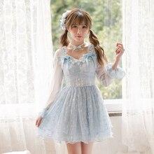 Карамельный дождь Новое блестящее платье с принтом звезды осеннее женское мини платье синее бальное платье C22CD7171