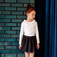 Kids Girls T Shirts Long Sleeves Cotton Top White Ruffle Blouse Girls Autumn Clothes Toddler Girls
