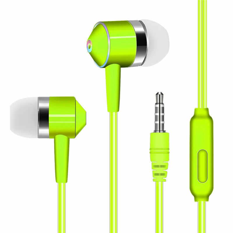 في الأذن الهاتف المحمول الملونة سماعة خط التحكم مضخم الصوت مع القمح سماعات العالمي الهاتف المحمول سماعة اكسسوارات
