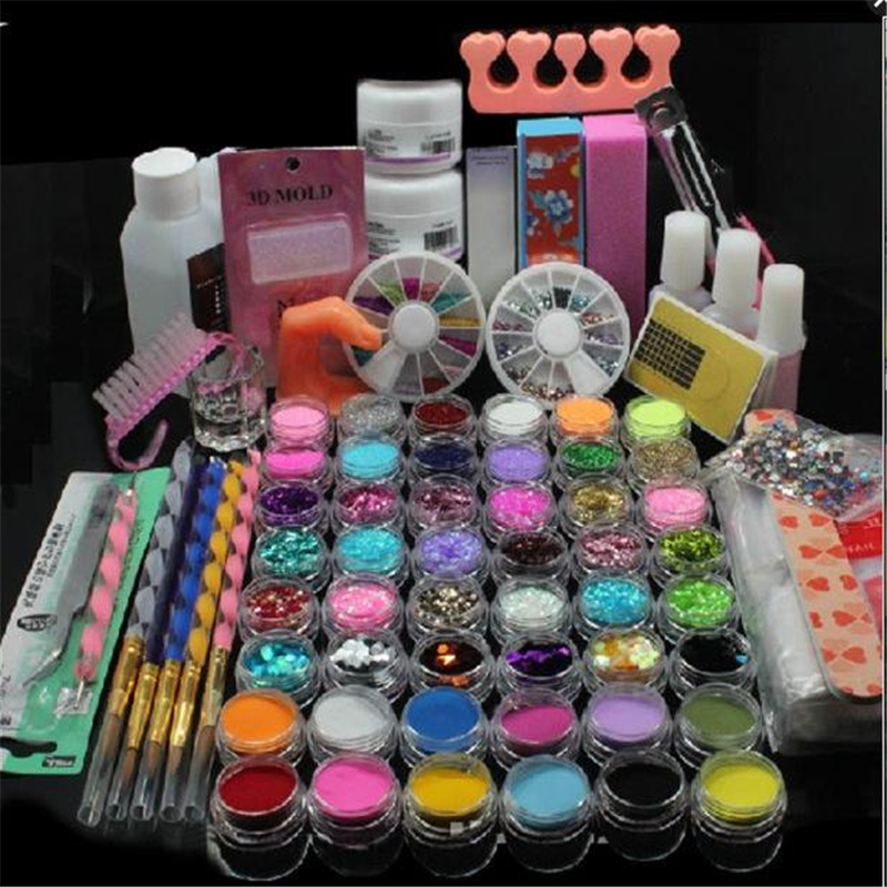 Glitter Powder Manicure Nail Kit Rhinestones 3D Design Acrylic Powder Gel Polish Nail Tips Gems Decoration DIY Nail Tools Kit bowen m way ahead 6 pupils book cd rom pack