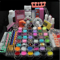 Glitter Powder Manicure Nail Kit Rhinestones 3D Design Acrylic Powder Gel Polish Nail Tips Gems Decoration DIY Nail Tools Kit