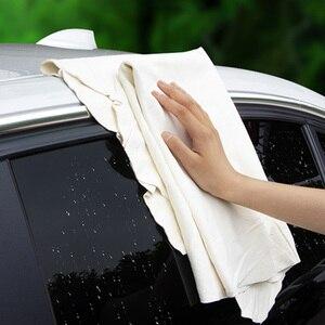 Image 4 - Toalla de limpieza de gamuza de secado Natural para coche toallas para limpiar coches paño de secado y lavado 30*60 cm Toalla de lavado de coches esponja cepillo