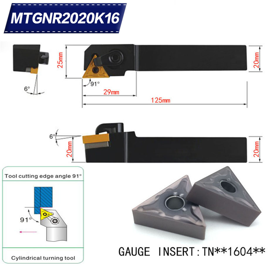 MTGNR2020K16 91 Degree External Turning Tool Holder For TNMG160404 TNMG160408 Used on CNC Lathe Machine