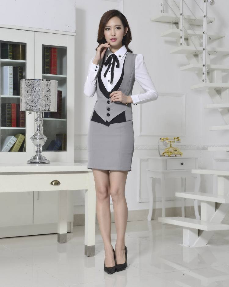 New 2015 Novelty Grey Spring Autumn Formal Work Wear Women s Suits with  Skirt Elegant Ladies Office Female Beautician Uniforms-in Skirt Suits from  Women s ... 2a6583a683fb