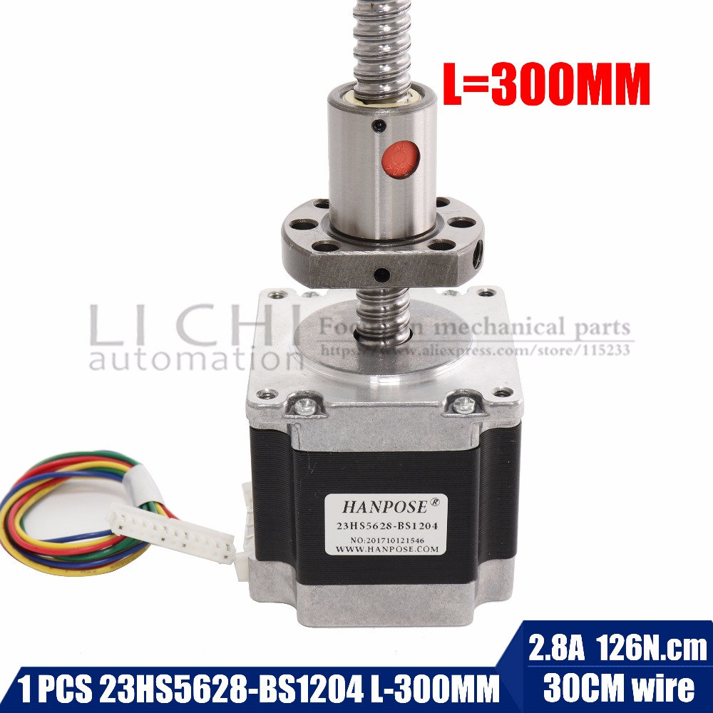 Free shipping Nema 23 Stepper Motor 23hs5628-bs1204 ball screw length 300MM , 2 phase, 4-Leads 56mm for CNC 3D Printer 57 slowdown stepper motor motor length 56