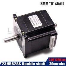 Nema 23 шаговый двигатель 1.26n.m(178oz-in) 56 мм/2.8A двойной вал диаметр 8 мм ЧПУ DIY 3d принтер