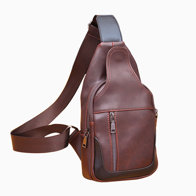 Popular 2017 New Brand Design Fashion Coffee Leather PU Casual Bag Chest Pack Men Bags Sac Vintage Functional Shoulder Waist Bag