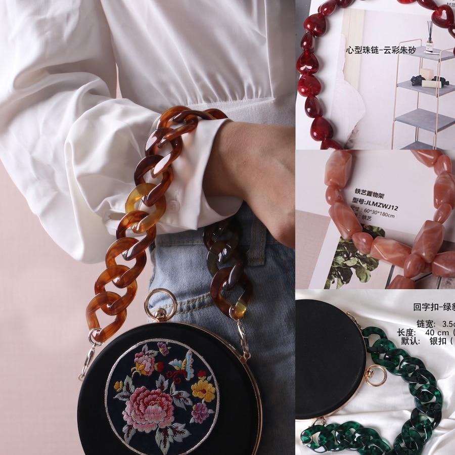 INS Acrylic Chains Bag Strap Shoulder Belt Resin Handbags Belt Purse Straps Handle Bag Accessories Bamboo Bag Acrylic Detachable