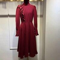 Элегантные вечерние платья для женщин ТРАПЕЦИЕВИДНОЕ ПЛАТЬЕ С Оборками винтажное 2018 зимнее модное платье с длинным рукавом длиной до колен