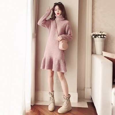 2018 Pink Swater Dress Korean Formal Dress Women Elegant Autumn High Turtleneck Vestidos Casual Gray Bodycon Party Dress
