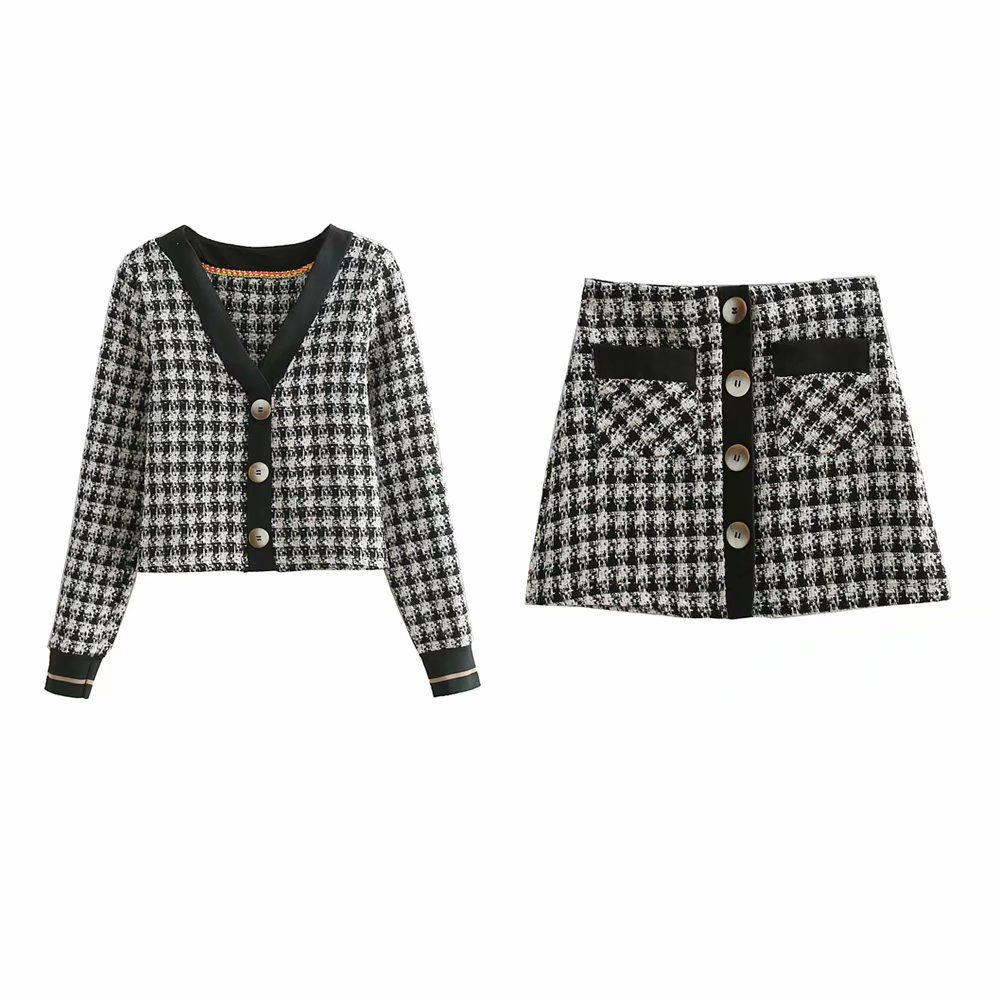 Set female 2019 spring fashion high waist twill plaid A word skirt short skirt short coat two-piece fashion suit female