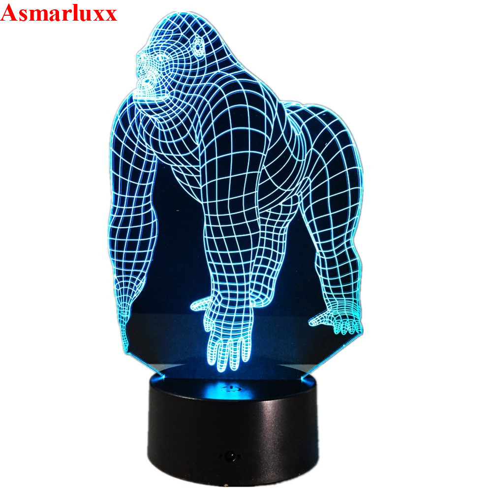 LED Lamp | Gorilla 3D LED Lamp 7 Color Led Night Lamps For Kids Touch Led USB Table Lampara Lampe Baby Sleeping Nightlight 3d Hologram Lamp