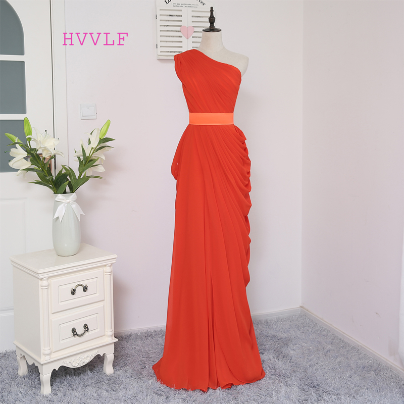 HVVLF 2018 Cheap   Bridesmaid     Dresses   Under 50 Sheath One-shoulder Chiffon Burgundy Long Wedding Party   Dresses