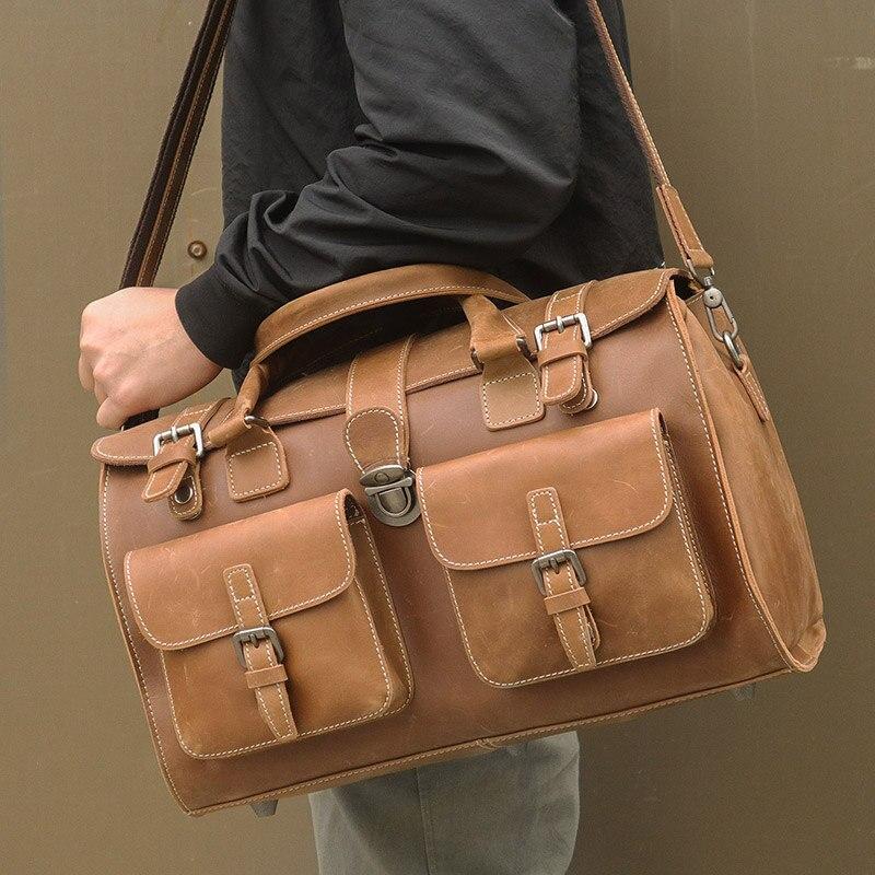 Men's Travel Bag Real Leather Business Vintage Bags  Handbags Man  Shoulder Messenger Crossbody Tote Travel Weekend Fashion  Bag