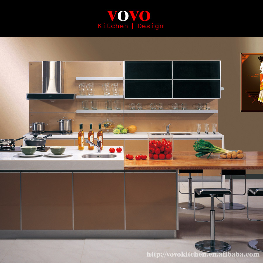 Kitchen Cabinets Factory: Black And Beige MDF Kitchen Cabinets Manufacturer-in