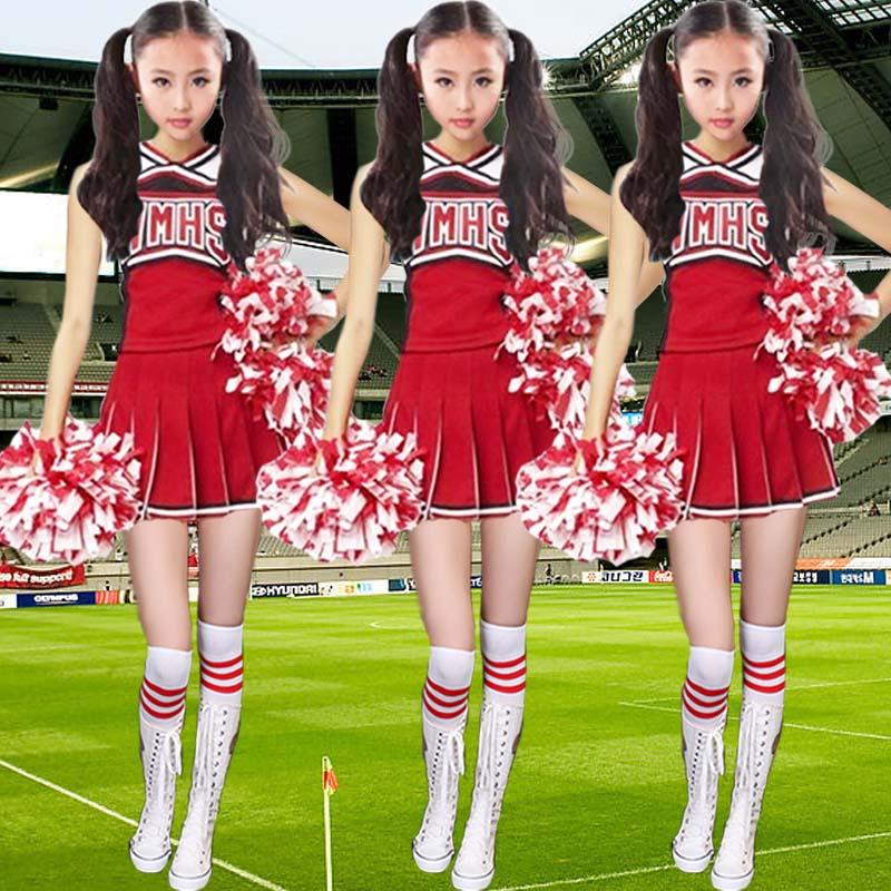 2016 New Children Dance Costumes Cheerleader Girls Cheerleading Gymnastics Dress with Safety Pants