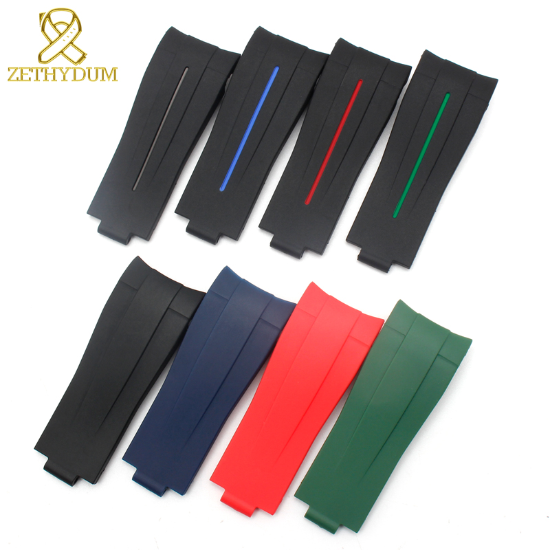 Rubber Watchband Waterproof Silicone Bracelet Sport Watch Band 20mm 21mm Watchband For Mens Watches Wristwatches Fold Buckle