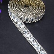 Ruban applicateur de strass à Motif cristal, 1 mètre, ruban avec strass de fer sur les Appliques pour robes