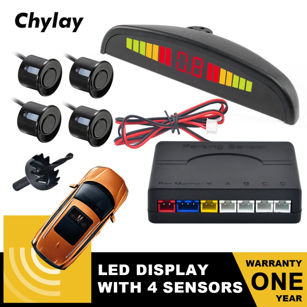 Um Conjunto de Led Display Sensor de Estacionamento Auto Car Detector Parktronic Reverso Backup System Radar Monitor com Sensores 4