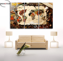 Spices World Map Poster Wall Modular Picture Home Decor 3 Panels Unframed Painting Art Print On Canvas For