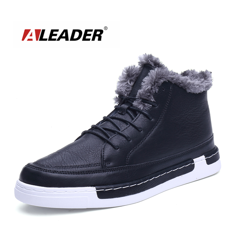 ALEADER Warm Mens Ankle Boots Fashion Leather Shoes Casual Outdoor Winter Boots For Men Classic Black Shoes With Fur Male Botas nobrand crown d38 75 015 06 0
