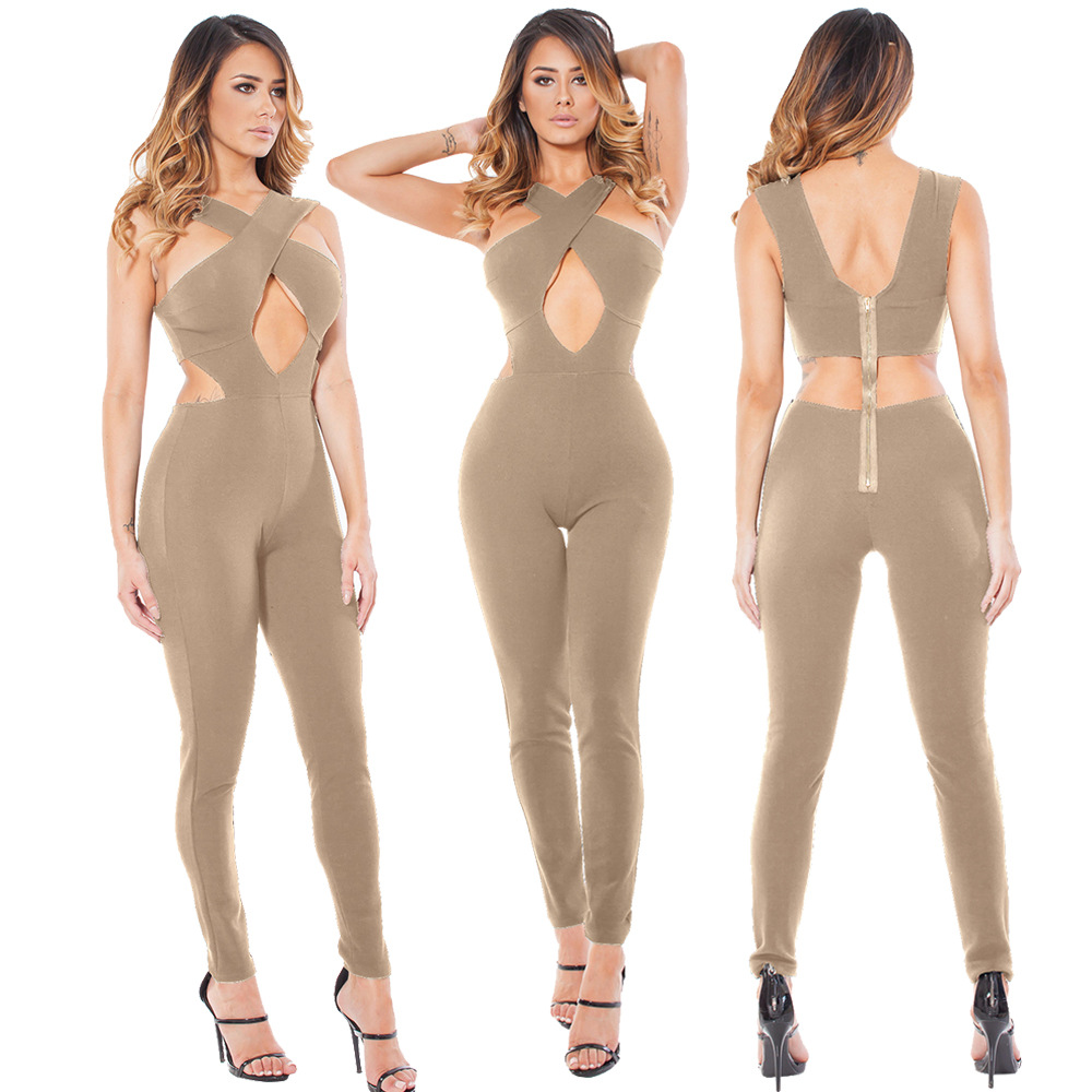 Halter Neck Elegant Fashion Sexy Jumpsuits Ladies Loose Slim Casual Party Overalls Long Pants Women Sleeveless Night Club Romper