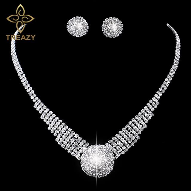 TREAZY Sparkling Silver Color Rhinestone Chunky Choker Necklace Earrings Jewelry Set Elegant Crystal Wedding Bridal Jewelry Sets