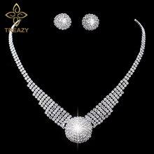 Treazy игристое серебряный цвет горный хрусталь коренастый choker ожерелье серьги комплект ювелирных изделий элегантный кристалл свадебные ювелирные наборы