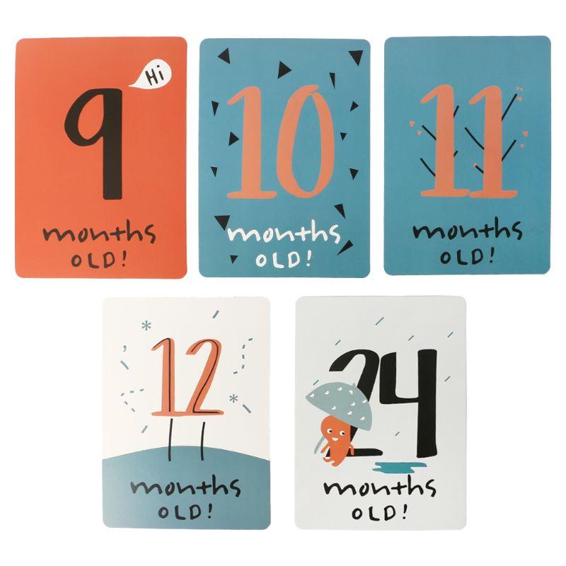 20 Pcs/Set Month Card Baby Photography Photo Cards Monthly Newborn Photos Funny Cartoon Decoration Creative Commemorative Memori