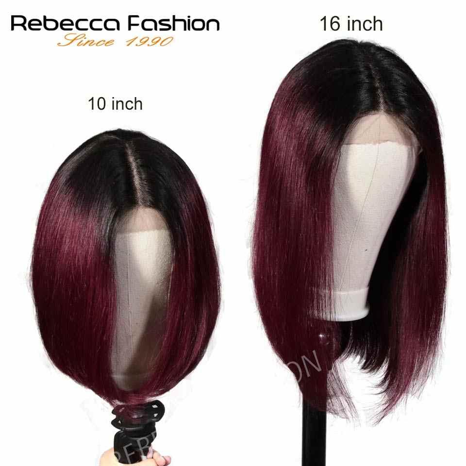 """Rebecca bob парики на шнурках спереди для черных женщин перуанские короткие человеческие волосы парик с Омбре человеческие волосы парик Средний Часть 10 """"Бесплатная доставка"""
