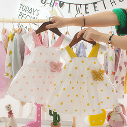 Летние платья для маленьких девочек, одежда для младенцев, платье принцессы в горошек без рукавов с открытой спиной и бантом, Одежда для нов...
