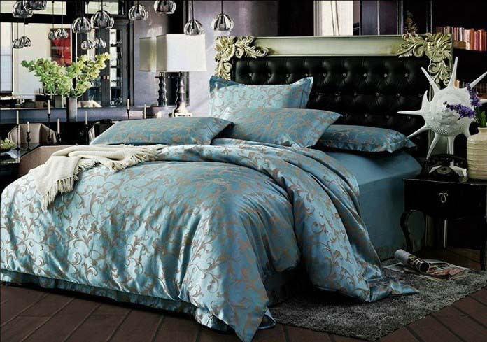 buy royal light blue 4pcs silk satin. Black Bedroom Furniture Sets. Home Design Ideas