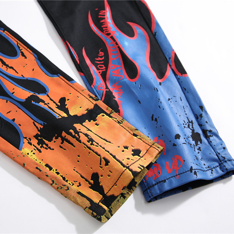 Image 5 - Sokotoo Men's fashion letters flame black printed jeans Slim straight colored painted stretch pants-in Jeans from Men's Clothing