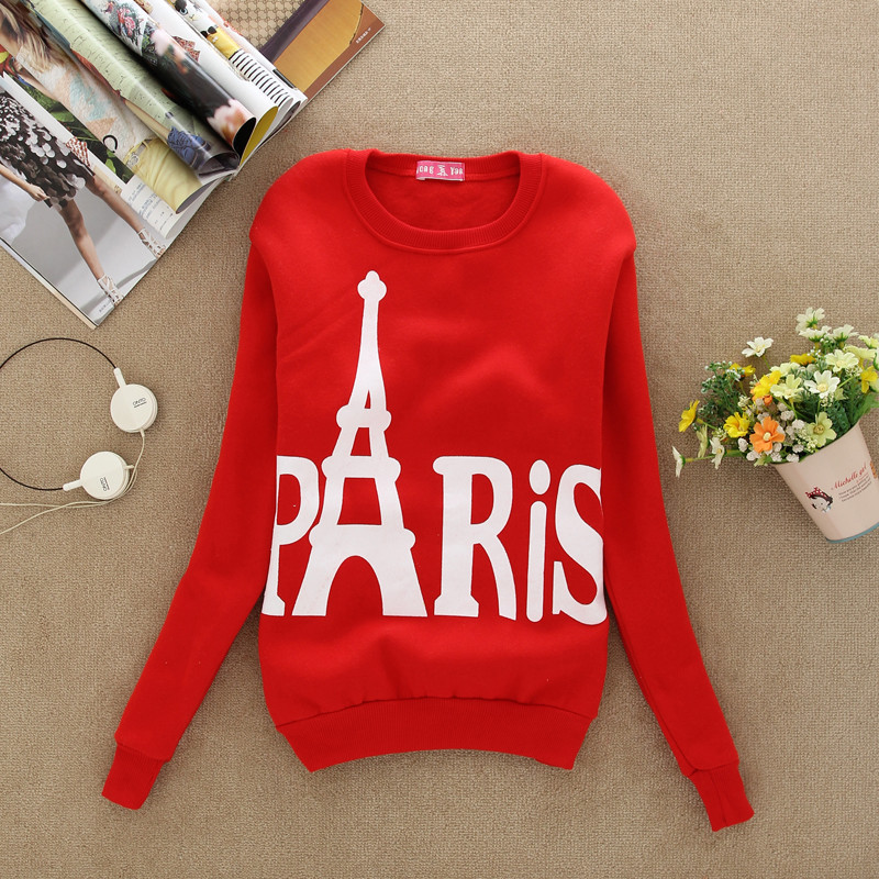 5e6fdfc3ff 2016 Nueva moda Otoño mujeres manga larga Torre Eiffel pattem impreso  pullover casual sudaderas Tops cropped tracksuit