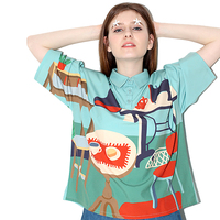 Summer New Original Design Preppy Style Women Chiffon Shirt Tops Short Sleeves Female Blouse Casual Loose Harajuku Printed