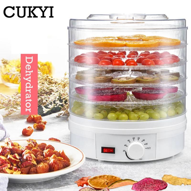 Дегидратор для продуктов CUKYI, сушилка для фруктов, овощей, трав, мяса, закусок, пищевая сушилка с 5 лотками, вилка для ЕС/Великобритании/США, 110 ...
